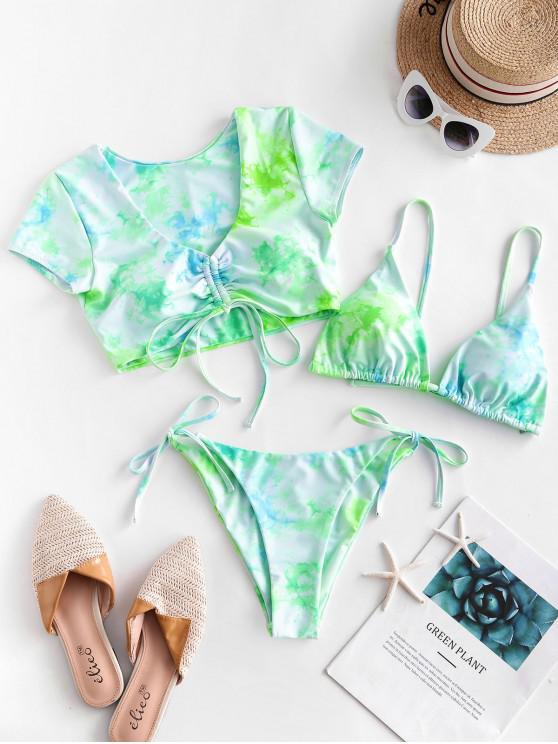 women ZAFUL Tie Dye Cinched Three Piece Swimsuit - ALGAE GREEN S