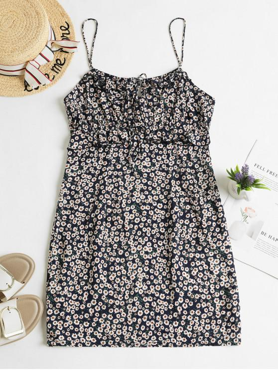 unique ZAFUL Tiny Floral Ruffles Mini Cami Dress - CADETBLUE M