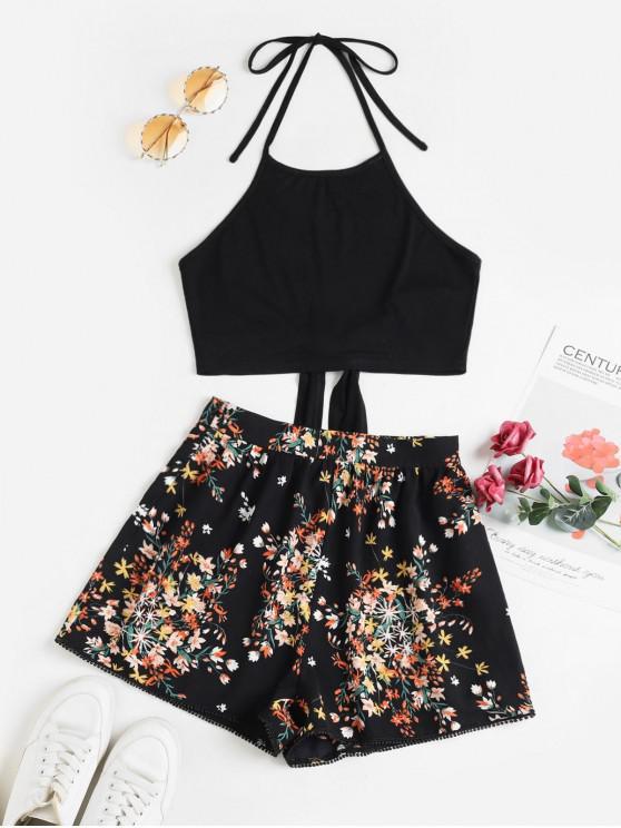 trendy ZAFUL Tie Back Halter Contrast Floral Two Piece Set - BLACK S