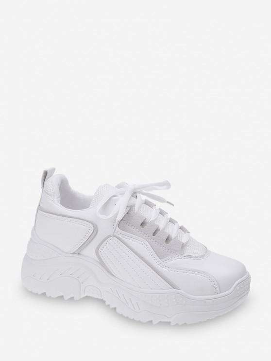 sale Geometric Mesh Panel Lace Up Sneakers - WHITE EU 40