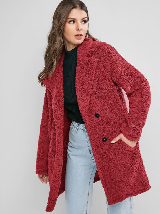 outfit ZAFUL Lapel Pocket Longline Faux Fur Coat - CHERRY RED M