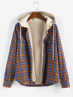 ZAFUL Plaid Hooded Fluffy Lined Snap Button Jacket - Multi-a L