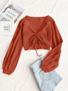 Textured Knitted Gathered Top - Orange S