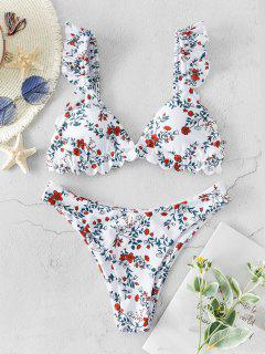 ZAFUL Floral Ruffle High Leg Bikini Swimwear - Multi-a S