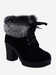 Faux Fur Foldover Lace Up High Heel Boots - Black Eu 36
