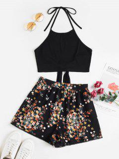 ZAFUL Tie Back Halter Contrast Floral Two Piece Set - Black S