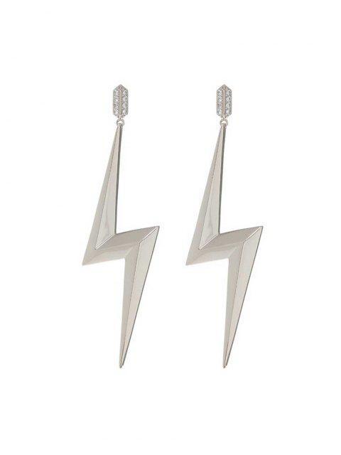 fashion Lightning Shape Rhinestone Drop Earrings - SILVER  Mobile