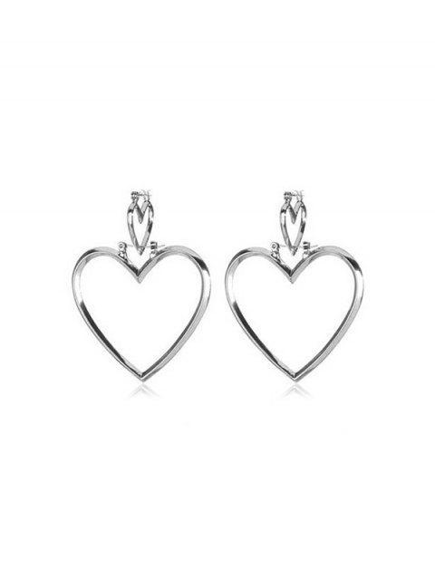 Двойное сердце Ажурные Серьги с подвеской - Серебряный  Mobile