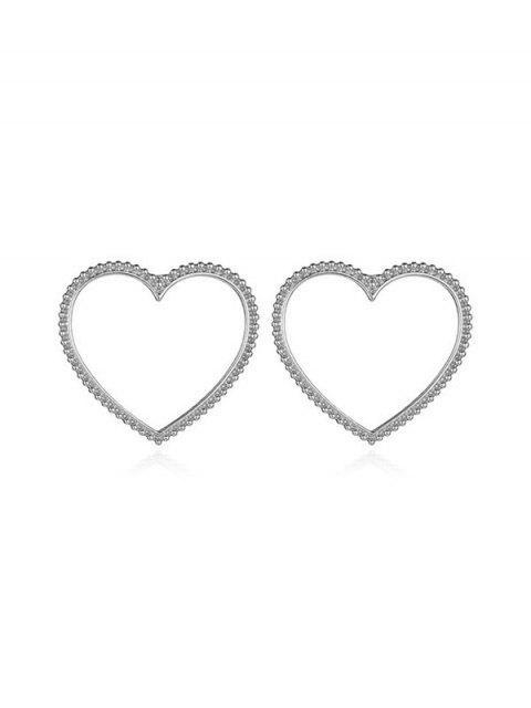 Резные Ажурные Серьги-пусеты Сердце - Серебристый  Mobile