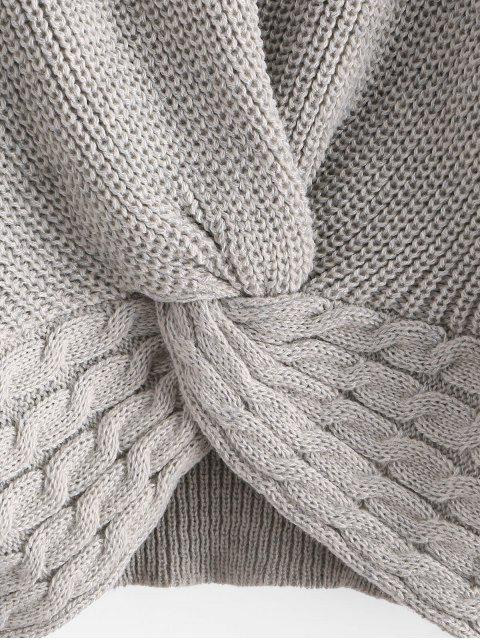 best ZAFUL Twist Front Cable Knit Chunky Sweater - GRAY GOOSE S Mobile