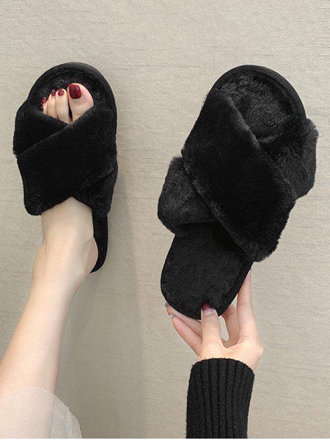 Chaussures Croisées en Fausse Fourrure - Noir EU 39 Mobile