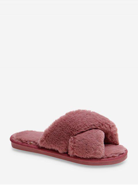 Chaussures Croisées en Fausse Fourrure - Rouge Rose EU 38 Mobile