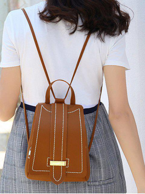lady Strap Accent Flap PU Leather Backpack - LIGHT BROWN  Mobile