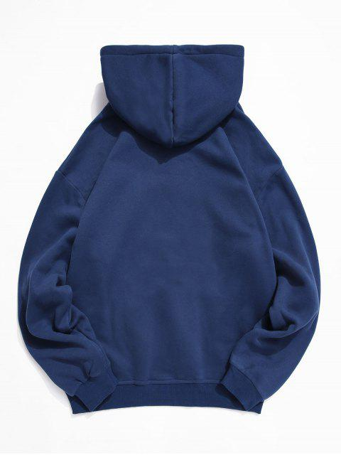 Sudadera con capucha de la bolsa del bolsillo letra china Impreso - Azul Cobalto 2XL Mobile