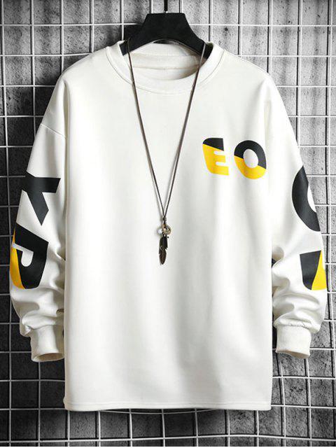 Kontrast Buchstabe Graphikdruck Fallschulter Lässige Sweatshirt - Weiß L Mobile