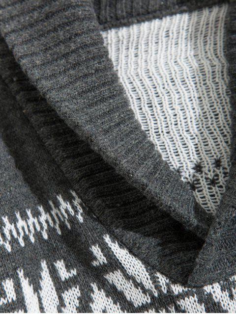 Modelo de la Navidad geométrica cuello chal suéter - Gris S Mobile