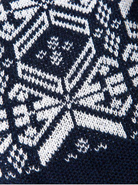 Geometrischer Muster Rundhalsausschnitt Pullover - Kadettenblau M Mobile