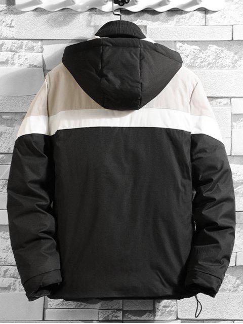 Farbblock Gespleißte Tasche Gepolsterte Hoodie Mantel - Schwarz XS Mobile