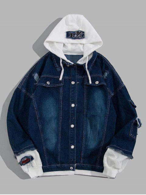 fashion Ripped Colorblock Faux Twinset Hooded Jean Jacket - DEEP BLUE S Mobile