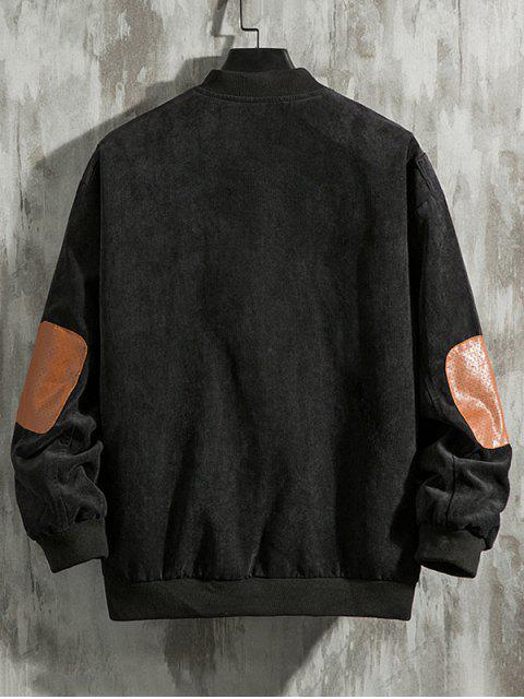 Einfarbige Ellenbogen Patch Reißverschluss Oben Jacke - Schwarz XL Mobile