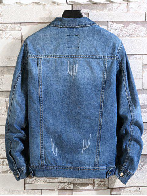 Doppelte Tasche Verzierte Knopf Jeansjacke - Denim Blau XS Mobile