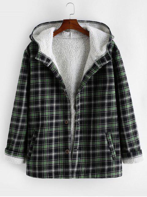 Chaqueta a cuadros con capucha de piel falsa mullida - Bosque Verde Mediana S Mobile