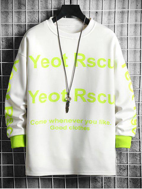 Kontrast Sweatshirt mit Buchstabe Grafik Druck und Rundhalsausschnitt - Weiß M Mobile
