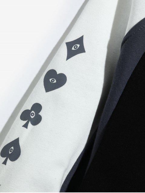 El bloqueo de color de raglán empalmado carta gráfica de la manga con capucha - Negro M Mobile