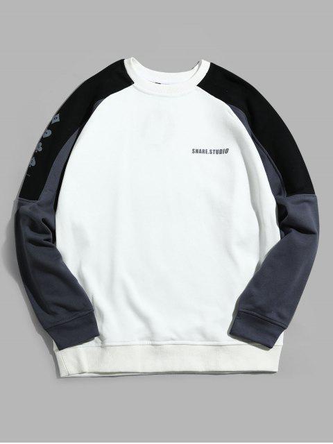 El bloqueo de color de raglán empalmado carta gráfica de la manga con capucha - Blanco M Mobile