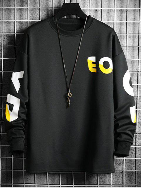 Kontrast Buchstabe Graphikdruck Fallschulter Lässige Sweatshirt - Schwarz L Mobile