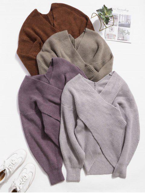 Solides Pullover mit V Ausschnitt - Braun Eine Größe Mobile