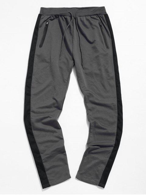 Colorblock條紋抽繩運動褲 - 深灰色 M Mobile