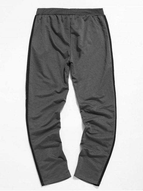 Colorblock條紋抽繩運動褲 - 深灰色 2XL Mobile