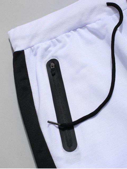 Farbblock Gestreifte Tunnelzug Sporthose - Weiß XL  Mobile