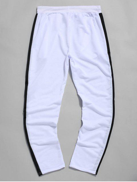 Colorblock條紋抽繩運動褲 - 白色 2XL Mobile