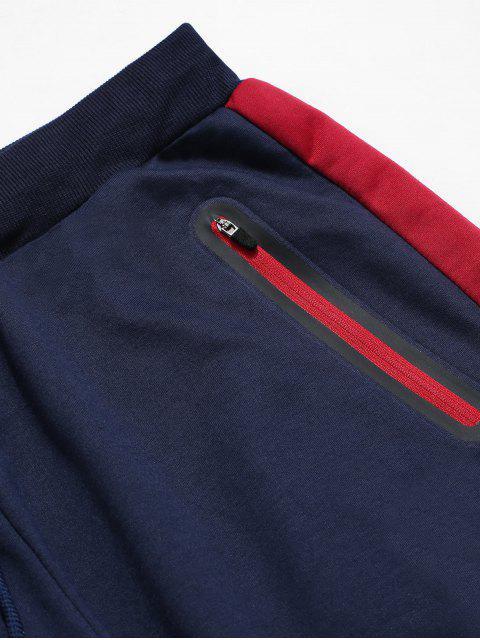 Colorblock條紋抽繩運動褲 - 藏青 XL Mobile