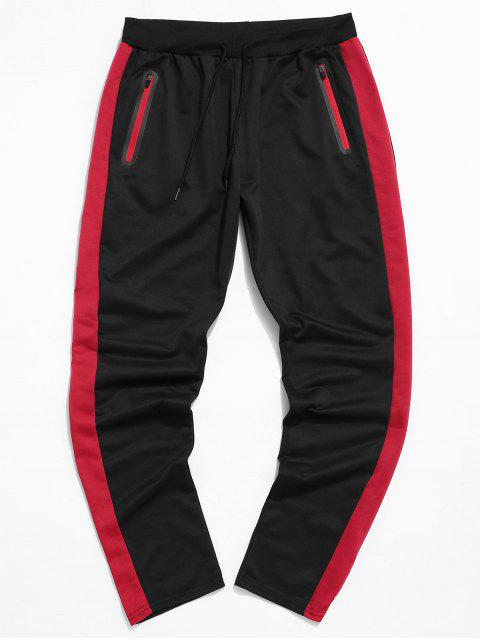 Colorblock條紋抽繩運動褲 - 黑色 2XL Mobile
