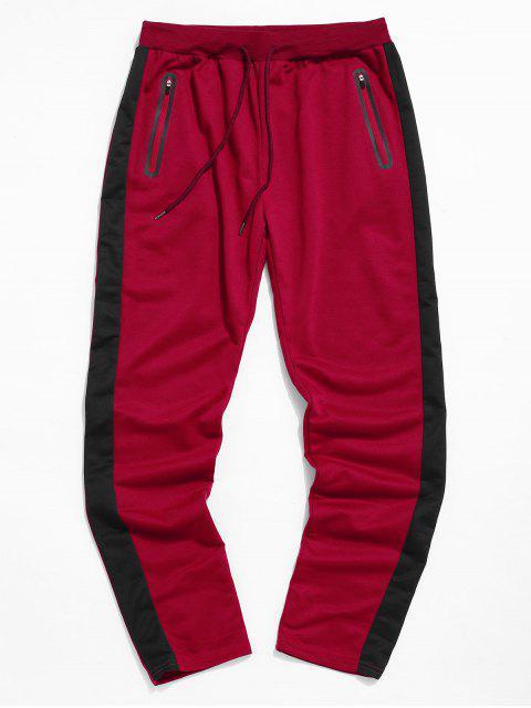 Colorblock條紋抽繩運動褲 - 紅 L Mobile
