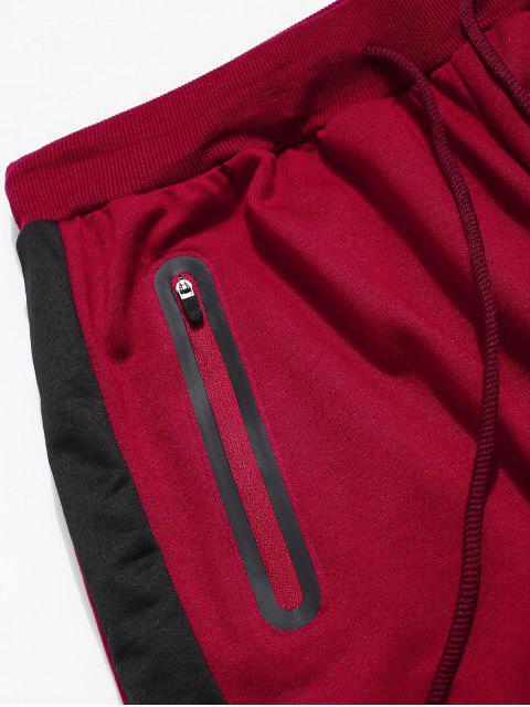 Farbblock Gestreifte Kordelzug Sport Hosen - Rot 2XL Mobile