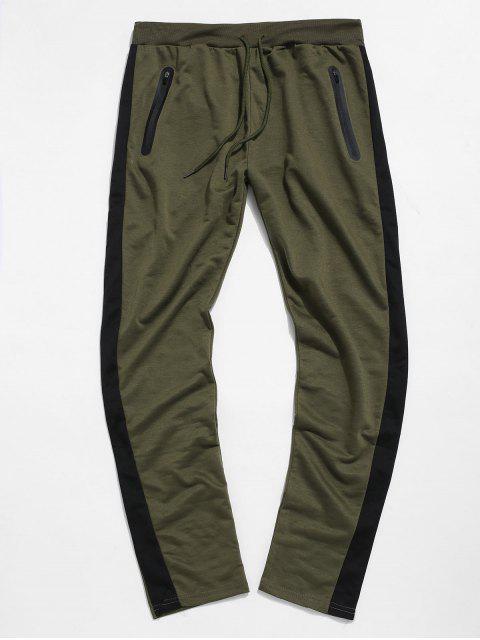 Colorblock條紋抽繩運動褲 - 綠色 XL Mobile