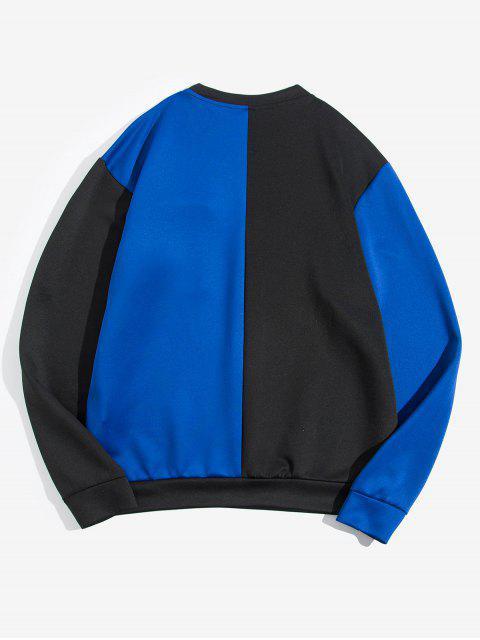 色彩拼接口袋裝飾外套 - 藍色 L Mobile