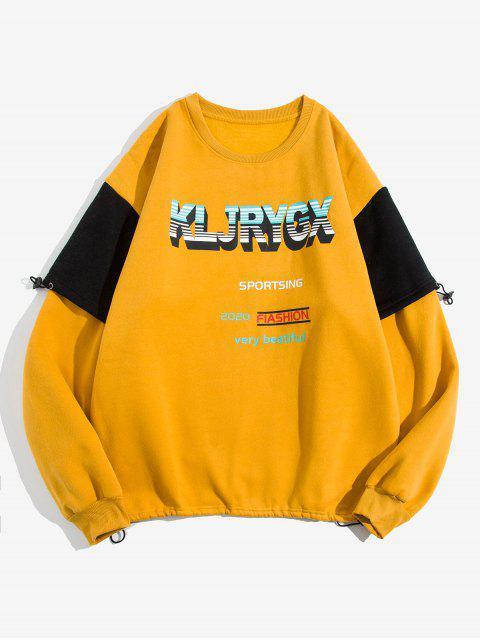 信圖形打印對比度仿兩件套衛衣 - 黃色 3XL Mobile