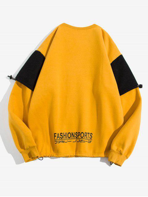 Buchstabe Grafikdruck Kontrast Künstliche Twinset Fleece Sweatshirt - Gelb 4XL Mobile