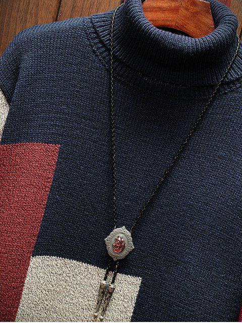 Jersey Casual Color Bloque Cuello Tortuga - Cadetblue 4XL Mobile