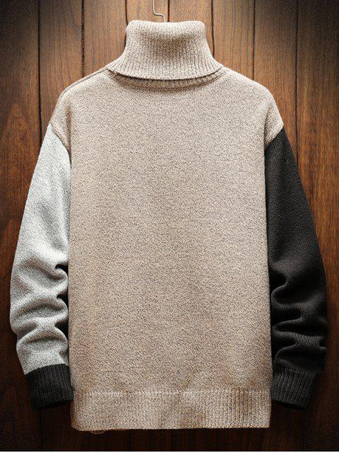 hot Color Blocking Turtleneck Casual Sweater - WHITE L Mobile