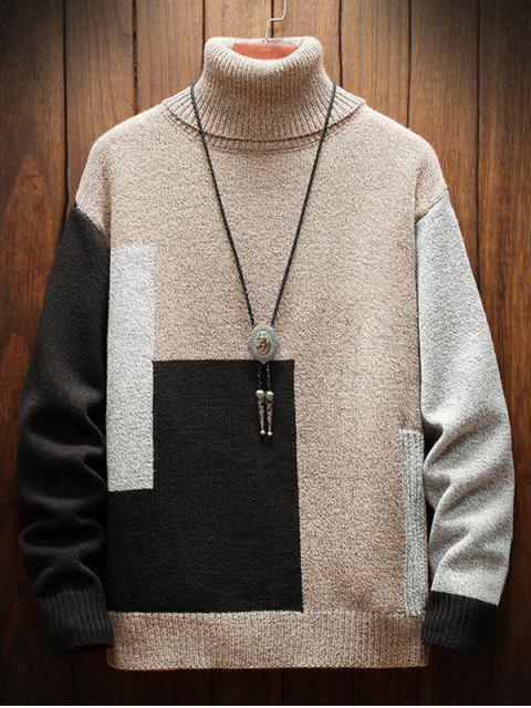 色塊高領毛衣休閒 - 白色 3XL Mobile