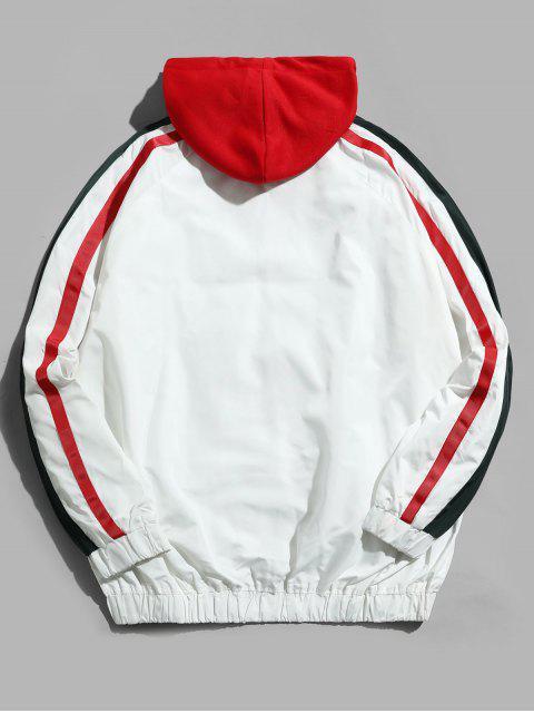 buy Colorblock Spliced Stripes Raglan Sleeve Hooded Jacket - WHITE 3XL Mobile