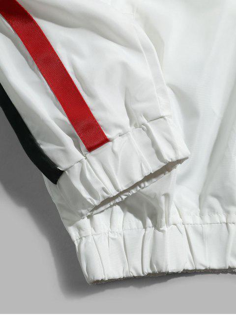 Farbblock Gespleißte Streifen Raglanärmel Kapuzenjacke - Weiß 4XL Mobile