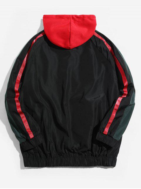 Colorblock拼接條紋插肩袖連帽外套 - 黑色 4XL Mobile