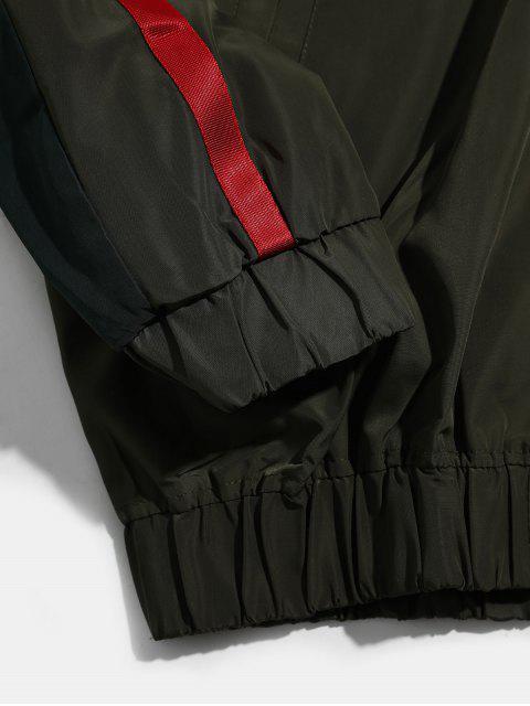 Farbblock Gespleißte Streifen Raglanärmel Kapuzenjacke - Armeegrün 4XL Mobile